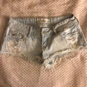 Hollister light blue denim distressed shorts